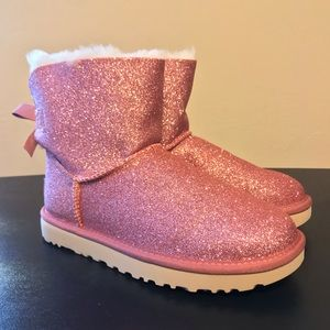 NEW UGG Mini Bailey Bow Sparkle Boots Pink